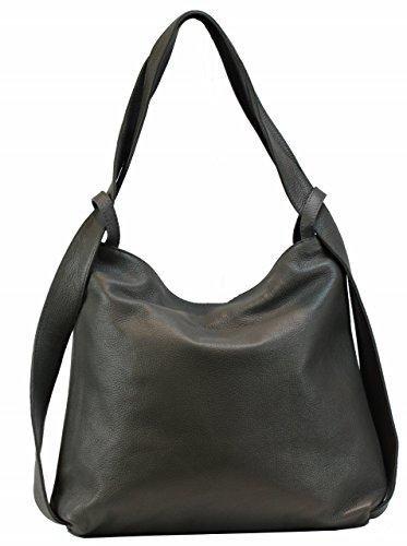 BZNA Bag Mia Taupe Schlamm Backpacker Designer Rucksack Ledertasche Damenhandtasche Schultertasche Leder Italy Neu