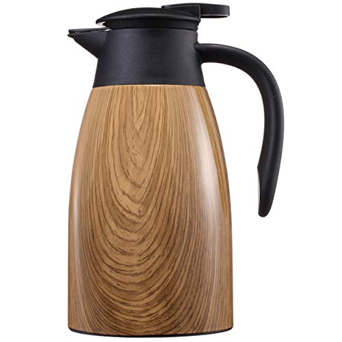 Sumerflos 1.5L/50 Oz Thermal Coffee Carafe - Double Wall Stainless Steel Vacuum Insulated Thermos - Leak Proof Lid with Dust Cover - Cool Touch Handle - Heat and Cold Retention (Wood Grain)