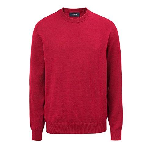 Maerz Herren Pullover Rundhals Wolle (Merinowolle) 490500-440 rot Uni, Konfektionsgrößen:64