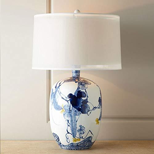 HEAQS bureaulamp handbeschilderd blauwe en witte porseleinen tafellamp slaapkamer nacht woonkamer lampen T-20-4-07
