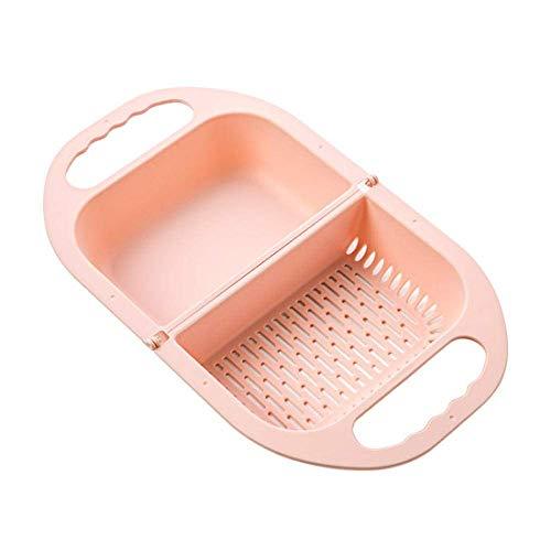 Zeef Groenten en Fruit Folding Vaatwasser Mand met Opvouwbare Filter Colander Drain en handgreep for Kitchen Tools wasmand Geel (Color : Pink)