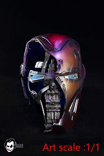 アベンジャーズ JokerToys アイアンマン マーク50 1/1 ヘルメット (エンドゲーム バトルダメージ仕様) LED発光&録音,再生機能搭載 プロップ レプリカ マーベル MARVEL
