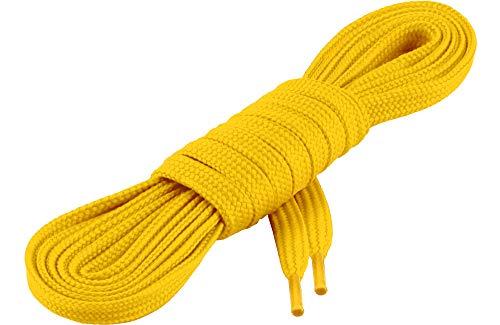 Ladeheid Qualitäts-Schnürsenkel LAKO1001, Flachsenkel für Arbeitsschuhen und Sportschuhen aus 100% Polyester, ca. 7 mm Breit, 18 Farben, 60-200 cm Länge, Gelb104, 160cm