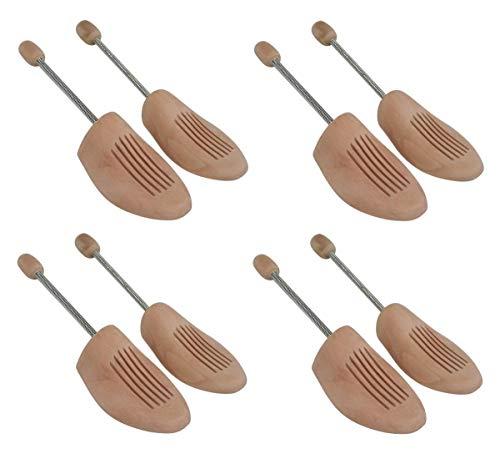 Delfa 4 Paar Schuhspanner Schuhformer Schuhstrecker Birkenholz mit Metall-Spiralfeder Gr. 44/45