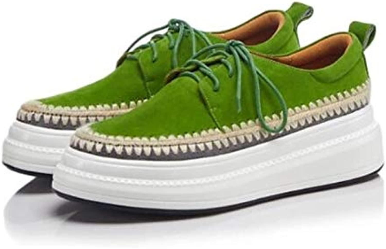 Women's shoes Suede Sheepskin Spring Summer Comfort Sneakers Creepers Closed Toe Green Pink