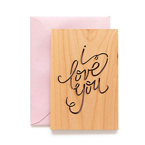 I Love You Calligraphy Wood Card [Personalized Gifts, Custom Message, Anniversary, Wedding, Birthday, Just Because]