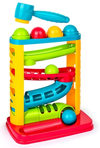 Award Winning Durable Pound A Ball, Stacking, Learning, Active, Early Developmental Montessori Toy, Fun Gift for Toddler & Kids - STEM Developmental Educational Toys - Great Birthday Gift