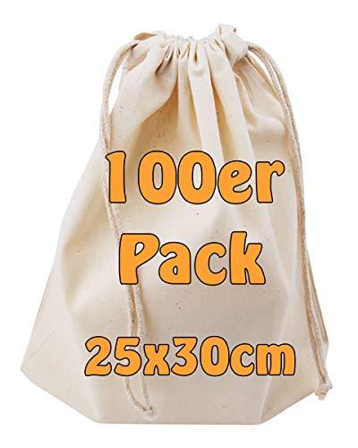 Cottonbagjoe Baumwollbeutel Stoffbeutel mit Kordelzug Lunchsack Kosmetikbeutel Sockenbeutel Schmucksäckchen Spielzeugtäschchen für Kleinigkeiten 25x30cm (Natur, 100 Stück)
