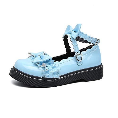 GEMORE Sweet Lolita Low Breite Absatz runde Zehe Bowtie Riemchen Prinzessin Schuhe (Color : Blue, Size : 38)