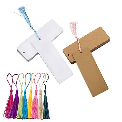 WANDIC Leere Lesezeichen, Karton, mit Löchern, 60 weiße Lesezeichen & braune Lesezeichen und 60 Bunte Quasten für DIY-Projekte und Geschenkbedarf