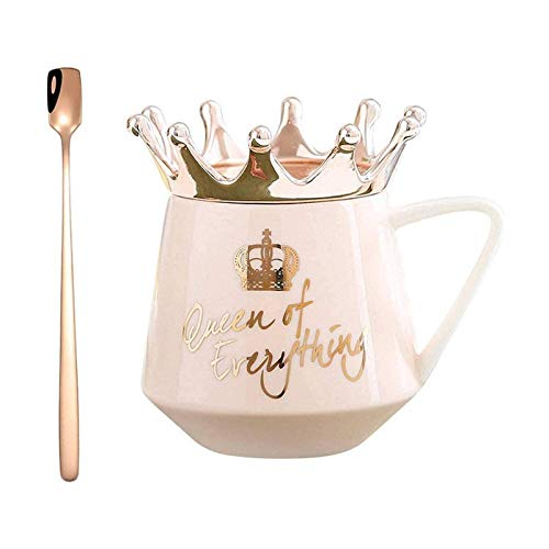 Queen of Everything Tasse mit Krone,Krone Tasse nordischen Stil,Tassen mit Deckel, Kronen-Motiv, Milch-/Kaffeetasse, Tasse Keramik Mädchen Geschenk für Kaffee Wasser Frühstück Pink