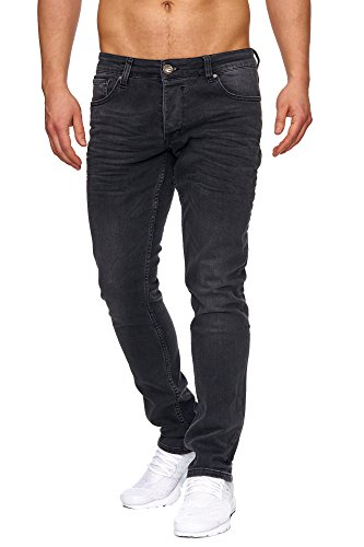 Tazzio Slim Fit Herren Styler Look Stretch Jeans Hose Denim 16533 (36/36, Schwarz)
