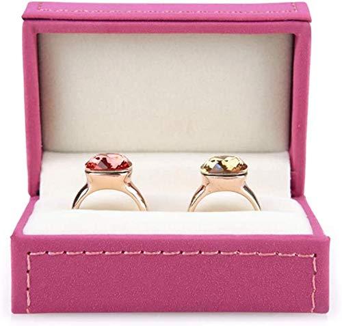 XinYiC Caja de almacenamiento para anillos de cuero, organizador de joyas de boda