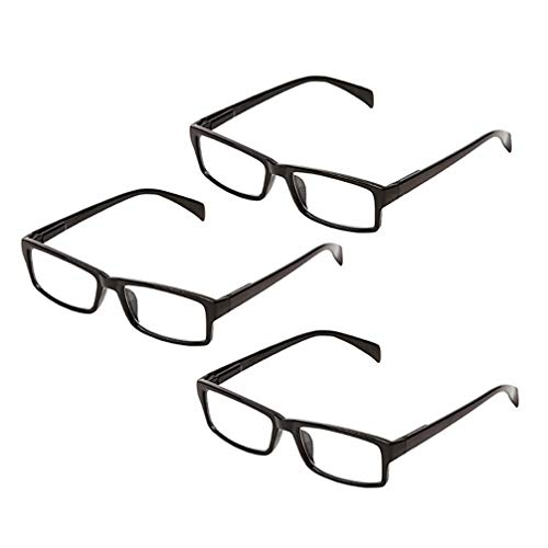 One Power Glasses Readers Pack of 3 Read Small Print and Computer Screens Adjustable Eye glasses Flex Clear Focus Auto Adjusting Optics for Women & Men's Reading Glasses .5X - 2.5X - Square Frame