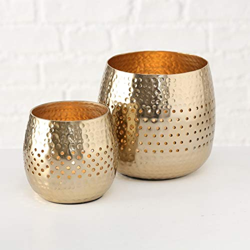 2er Set Windlicht Gold Kerze Schale Dekoschale Tellichthalter Dekoschale Metall (2er Set, Gold glänzend)
