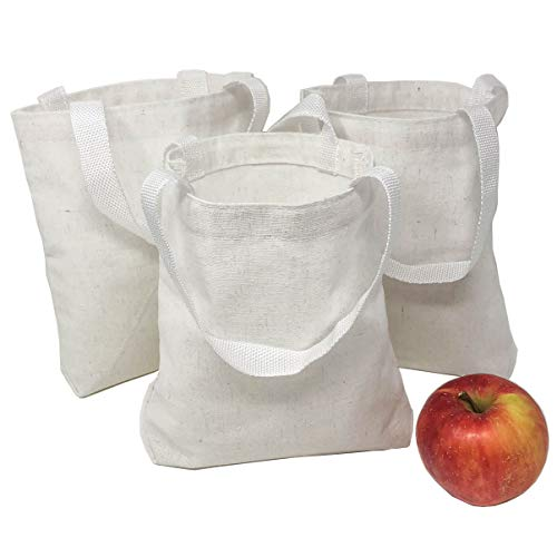 12 DIY Blank Small White Canvas Tote Bags - Bulk