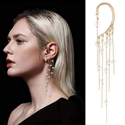 Beautymei Ear Crawler Earrings Ear Cuff Wrap Crawler Hook Earrings Rhinestone Ear Jewelry Long temperament Tassel Pearl Earrings for Women Girls Valentine Day Wedding(1 Pairs)