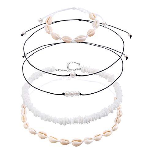 VANGAY Pearl Shell Necklace Choker for Women Handmade Puka Seashell Necklace Jelwery Hawaiian Beach Necklace Bracelet Set (Chokers/Bracelet Set)