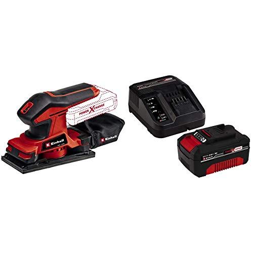 Einhell Lijadora orbital con batería TC-OS 18/187 Li Solo Power X-Change + Kit con Cargador y batería de repuesto de 18 V, 4 Ah, 0 W, 21 V, 4.0, Tiempo de Carga: 60 Minutos, Negro, Rojo
