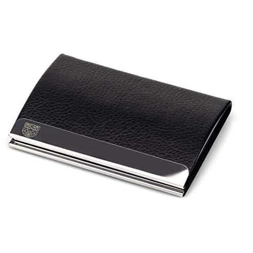 WLDOHO® Business Visitenkarten-Etui I Premium Visitenkartenhalter aus Edelstahl und hochwertigem PU Leder I Kartenetui Card Holder (Elegant)