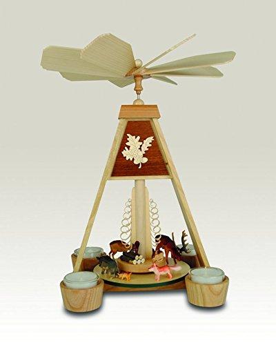 Rudolphs Schatzkiste Pyramid with Forest Animals, Tea Lights 37,5cm Table Pyramid Christmas Pyramid