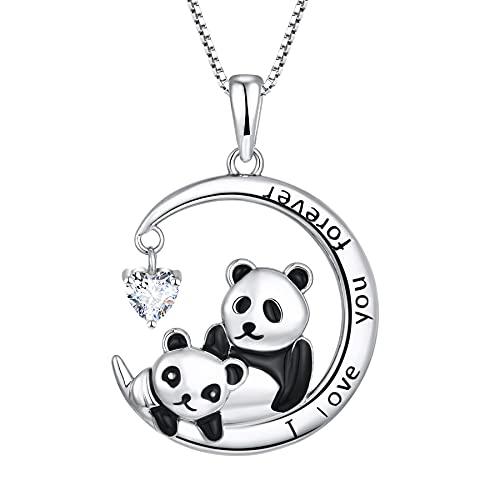 Starchenie Madre y Bebé Panda Colgante 925 Plata Esterlina Zirconia Cúbica Moda Mujer Collar para Mamá Hija