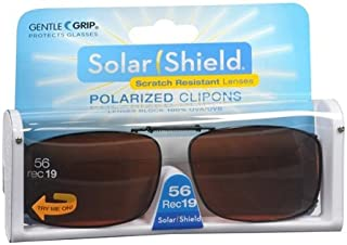 2 pairs Solar Shield Polarized Clip-on Sunglasses 56 Rec 19 full frame