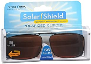 2 pairs Solar Shield Polarized Clip-on Sunglasses 56 Rec 19 full frame