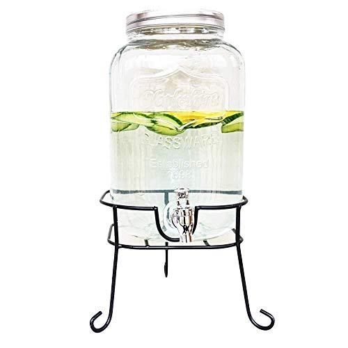 BNjq Dispensador de Bebidas de Vidrio de 8L Mason Jar con Base de Metal, Interruptor de espita, dispensador de Bebidas for Limonada, té, Agua fría, Vino