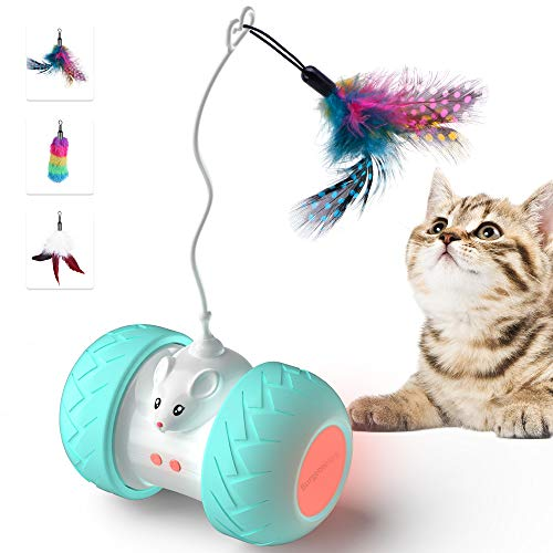BurgeonNest Automated Cat Toys for Indoor Cats, Cute Interactive Toy Balls with Mouse and 3 Feathers for Kitten 2 Speeds 3 Modes USB Charging
