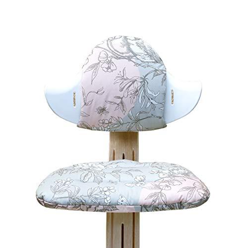 Blausberg Baby - Sitzkissen Set für Nomi Hochstuhl von Evomove - Cherry Blossom Grau Vogel (BESCHICHTET)