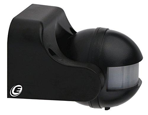 Electraline 58411 Sensor detector de presencia de movimiento, interruptor crepuscular y timer IP44, color negro