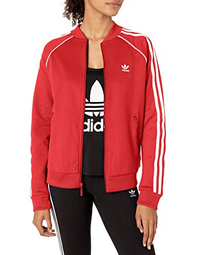 adidas Originals Women's Superstar Track Top Jacket, Scarlet, Large