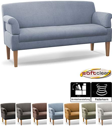 CAVADORE 3-Sitzer Küchensofa Malm, Sitzbank für Küche oder Esszimmer inkl. Armteilverstellung, Leichte Fleckenentfernung dank Soft Clean, 182 x 97 x 78, Flachgewebe: hellblau
