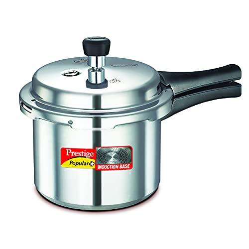 Prestige Popular Plus Induction Base Aluminum Pressure Cooker, 3 Litres, Silver