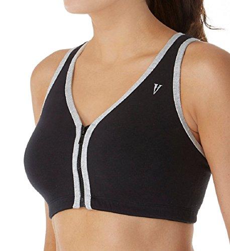 Valmont Women's Color Block Zip Front Sports Bra 1611B 48 B/C Black/Grey