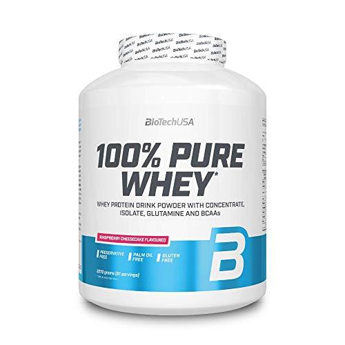 BioTechUSA 100% Pure Whey Complejo de proteína de suero, con aminoácidos añadidos y edulcorantes, sin conservantes, 2.27 kg, Tarta de queso con frambuesas