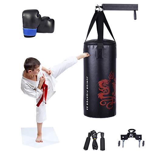 RELAX4LIFE 10 Kg Boxsack Set, Boxen Set mit 8 OZ Boxhandschuhe & Springseil & Tragetasche, aufhängender Punchingsack für Kinder, Jugendliche und Erwachsene, Boxing Bag schwarz, inkl. Deckenhalterung