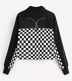 LICHONGGUI Checkerboard Patch Short Sweatshirt 2020 Fashion icon (Color : Black White, Size : L)