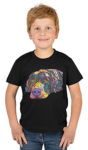 Labrador Kinder Tshirt - Hunde-Motiv Kindershirt - Hundemotiv : Savvy Labrador - Kunstmotiv buntes Hunde-Shirt Kind Gr: L = 146-152