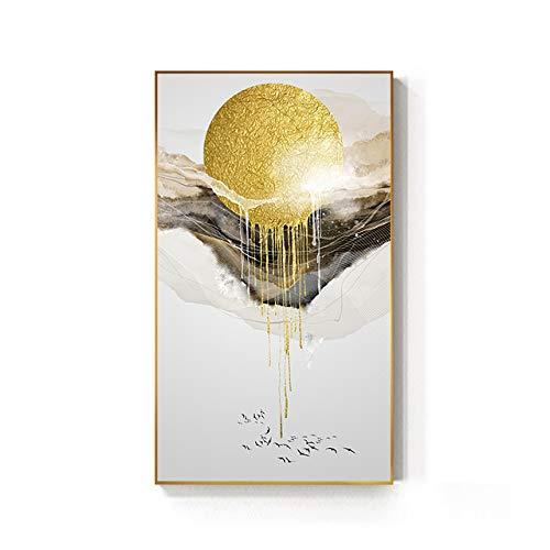 Abstrakte goldene sonnige Leinwandmalerei fließende Plakatdrucke Mode Wohnzimmer nordische...