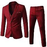 WEEN CHARM Men's Two Button Notch Lapel Slim Fit 3-Piece Suit Blazer Jacket