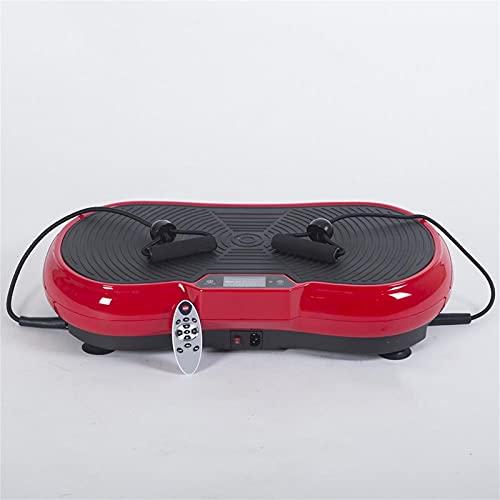 H-XH Plataforma Vibratoria Oscilante con Potencia De 200W Y 5 Programas, Incluye Cuerdas Elásticas, óptimo para Adelgazar con Vibración Y Ejercicios Musculares.(Size:Placa vibratoria roja Potente)