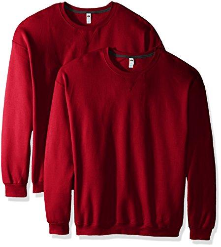 Fruit of the Loom Crew Sweat-shirt pour homme (lot de 2) - Rouge - XX-Large