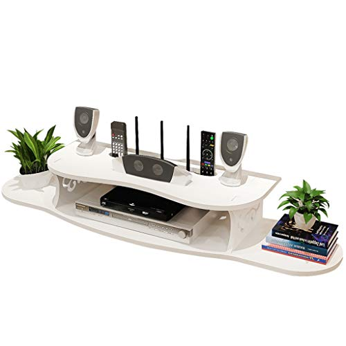 Étagère de rangement murale pour meuble de télévision à tablettes flottantes pour composants de télévision, console multimédia murale, étagères de rangement, 2 niveaux, pour câble , Blanc