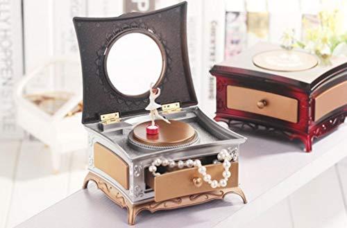 Sntsya prachtige en sierlijke cadeau klassieke dressoir roterende meisje muziek doos met make-up spiegel voor cadeau