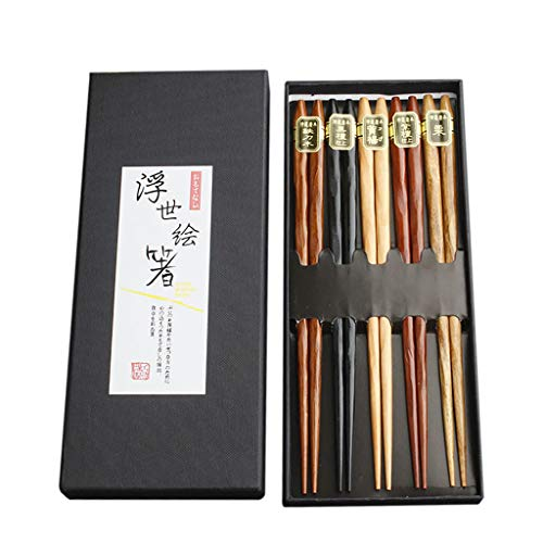 Fantastic Deal! N2 5 Pairs Japanese Reusable Chopsticks Natural Beech Chopsticks Chinese Set Wood