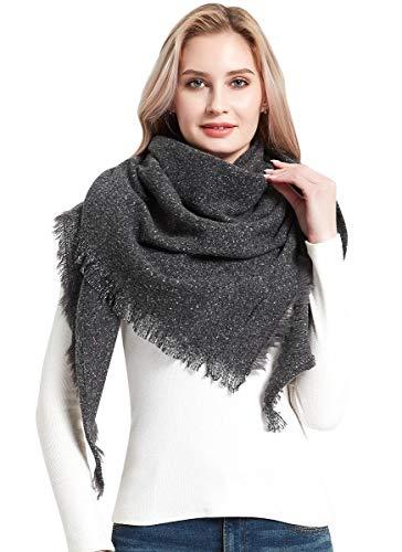 heekpek Bufandas Mujer Invierno Chales Cálido Moda Bufandas Largas de Invierno Chal Borla (gris)