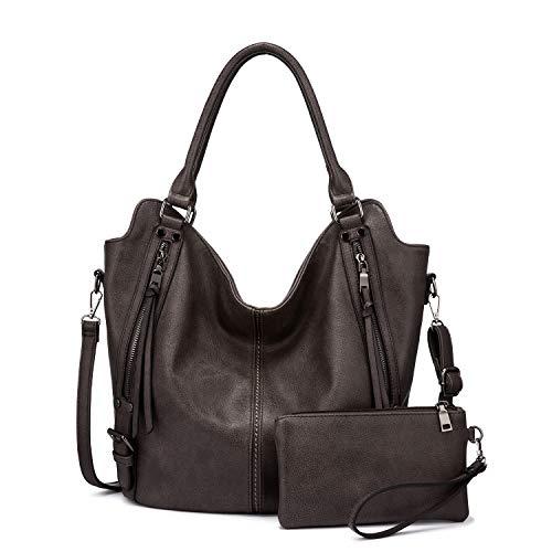 Realer Damen Handtaschen Groß Shopper Lederhandtasche Schultertasche Umhängetasche Geldbörse Hobo Damen Taschen Set für Büro Schule Einkauf Reise 2pcs Grau Braun