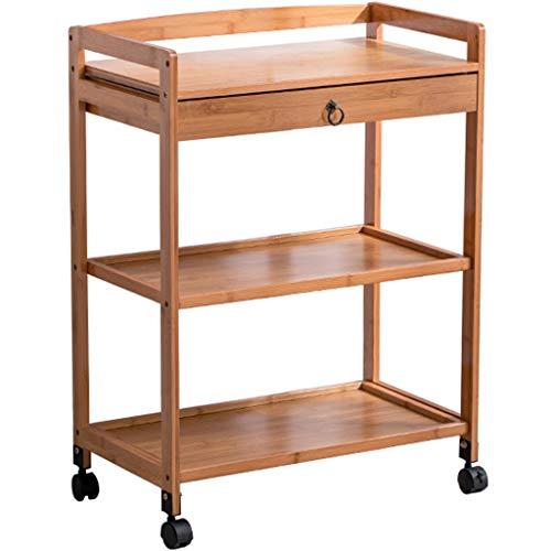 SuoANI Küchenwagen Rollwagen für Küche und Wohnzimmer,3-stufiger Rollwagen,mit 1 Schublade,mit Bremsen| Beistelltisch auf Rollen |Küchenwagen | Teewagen Anthrazit